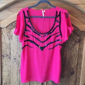 Hot pink silk beaded blouse